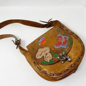 VTG Hand Painted Leather Shoulder Bag